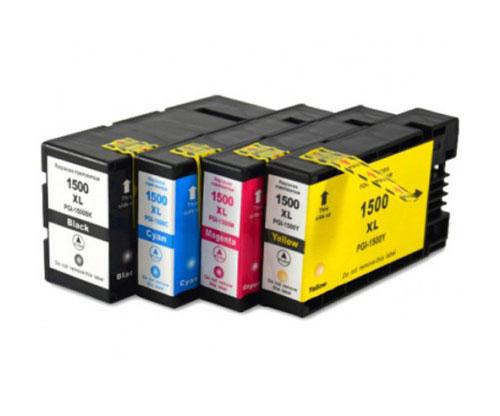 4 Compatible Ink Cartridges, Canon PGI-1500 Black 36ml + Color 11.5ml
