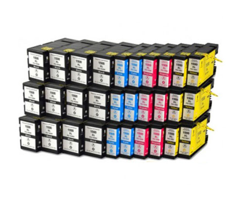 30 Compatible Ink Cartridges, Canon PGI-1500 Black 36ml + Color 11.5ml