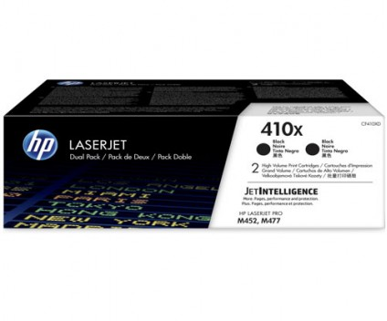 2 Original Toners, HP 410X Black ~ 6.500 Pages