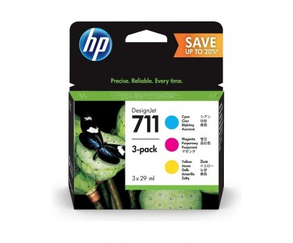 3 Original Ink Cartridges, HP 711 Color 29ml