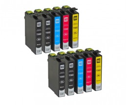 10 Compatible Ink Cartridges, Epson T02W1 - T02W4 / 502XL Black 9.2ml + Color 6.4ml