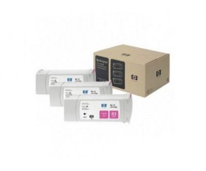 3 Original Ink Cartridges, HP 83 Magenta 680ml UV
