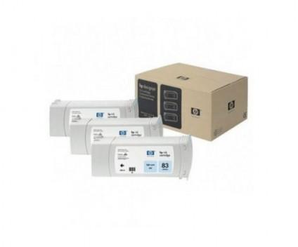 3 Original Ink Cartridges, HP 83 Cyan Photo 680ml UV