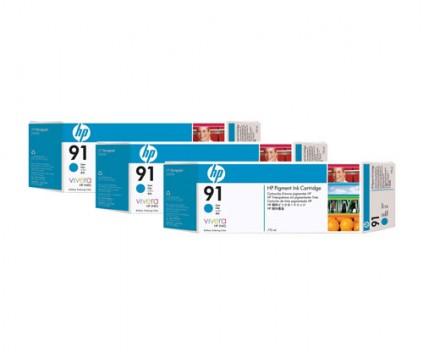 3 Original Ink Cartridges, HP 91 Cyan 775ml