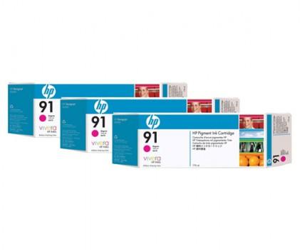 3 Original Ink Cartridges, HP 91 Magenta 775ml