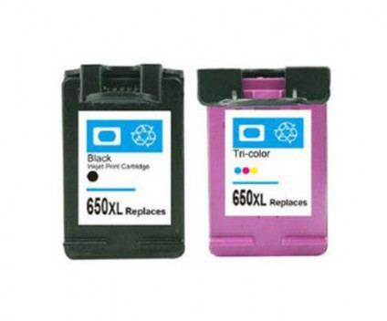 2 Compatible Ink Cartridges, HP 650 XL Black 20ml + Color 17ml