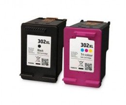 2 Compatible Ink Cartridges, HP 302 XL Black 20ml + Color 18ml
