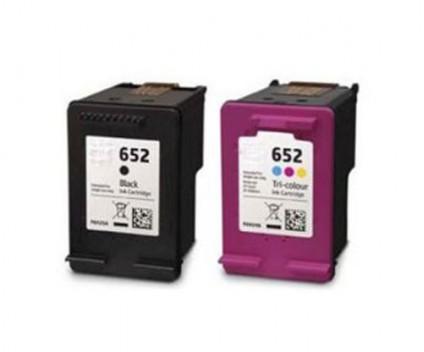 2 Compatible Ink Cartridges, HP 652 XL Black 20ml + Color 18ml