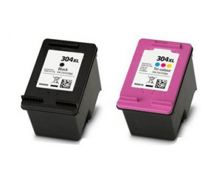 2 Compatible Ink Cartridges, HP 304 XL Black 20ml + Color 18ml