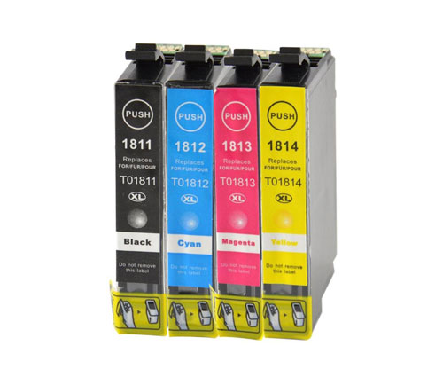 4 Compatible Ink Cartridges, Epson T1811-T1814 / 18 XL Black 17ml + Color 13ml