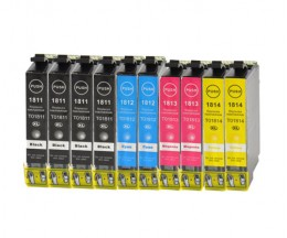 10 Compatible Ink Cartridges, Epson T1811-T1814 Black 17ml + Color 13ml