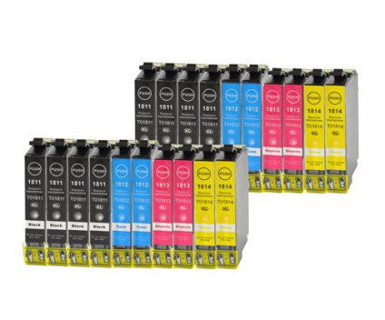 20 Compatible Ink Cartridges, Epson T1811-T1814 / 18 XL Black 17ml + Color 13ml