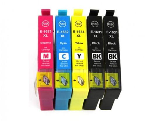 5 Compatible Ink Cartridges, Epson T1631-T1634 / 16 XL Black 17ml + Color 11.6ml