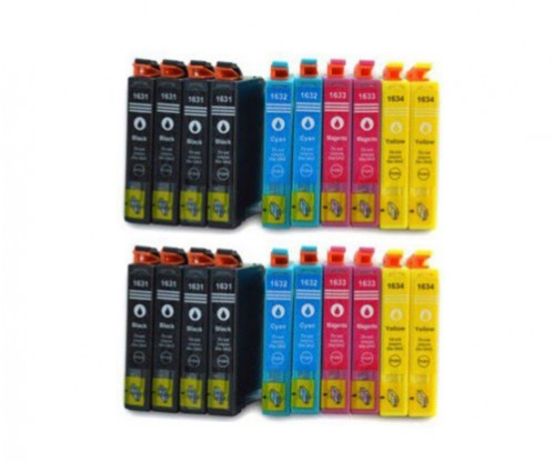 20 Compatible Ink Cartridges, Epson T1631-T1634 / 16 XL Black 17ml + Color 11.6ml