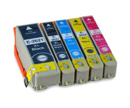 5 Compatible Ink Cartridges, Epson T2621 Black 26ml + T2631-T2634 Color 13ml