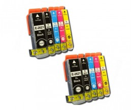 10 Compatible Ink Cartridges, Epson T2621 / 26 XL Black 26ml + T2631-T2634 Color 13ml