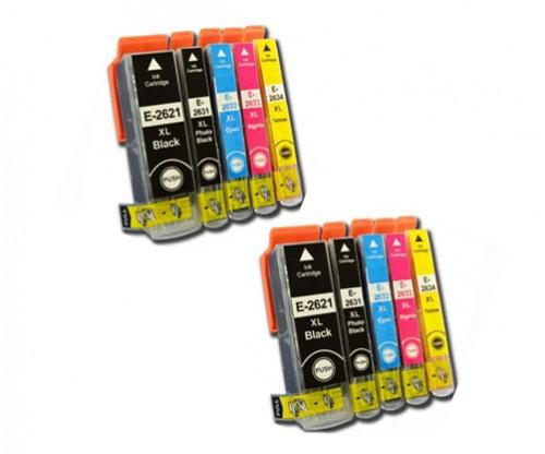10 Compatible Ink Cartridges, Epson T2621 / 26 XL Black 26ml + T2631-T2634 Color 13ml