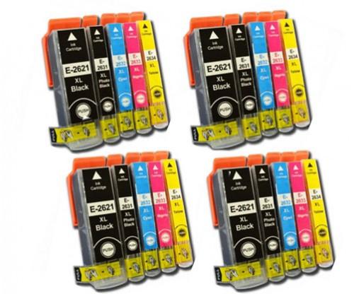 20 Compatible Ink Cartridges, Epson T2621/ 26 XL Black 26ml + T2631-T2634 Color 13ml