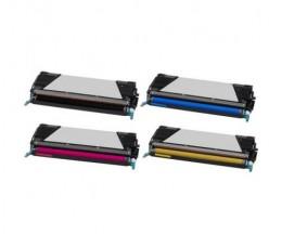 4 Compatible Toners, Lexmark C734A1 / C736H1 ~ 8.000 / 6.000 Pages