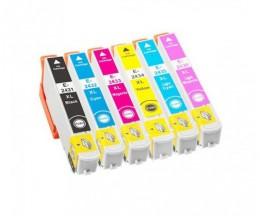 6 Compatible Ink Cartridges, Epson T2431-T2436 / 24XL Black 13ml + Color 13ml
