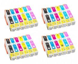 24 Compatible Ink Cartridges, Epson T2431-T2436 / 24 XL Black 13ml + Color 13ml
