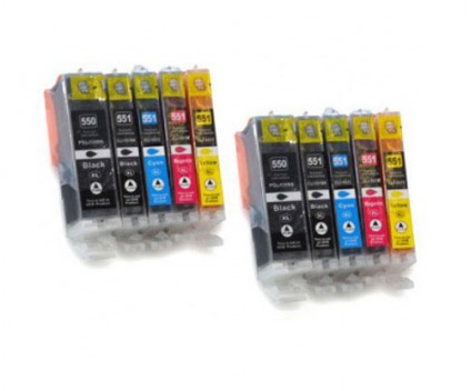 10 Compatible Ink Cartridges, Canon PGI-550 XL / CLI-551 Black 22ml + Color 13ml