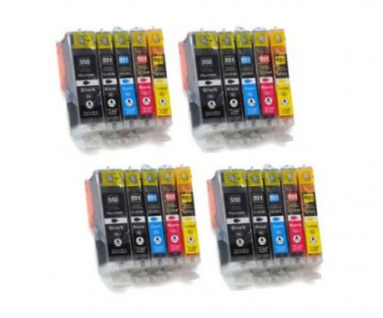 20 Compatible Ink Cartridges, Canon PGI-550 XL / CLI-551 Black 22ml + Color 13ml