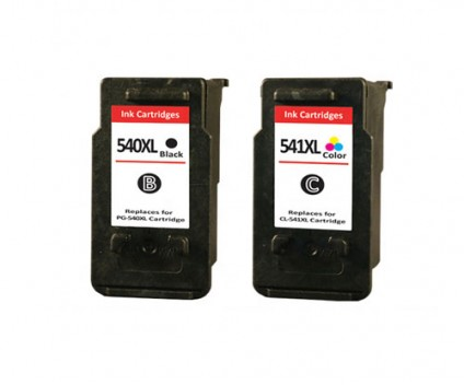 2 Compatible Ink Cartridges, Canon PG-540 XL / CL-541 XL Black 24ml + Color 21ml