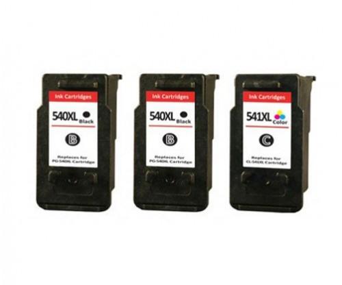 3 Compatible Ink Cartridges, Canon PG-540 XL / CL-541 XL Black 24ml + Color 21ml