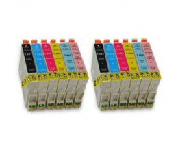 12 Compatible Ink Cartridges, Epson T0481-T0486 Black 18ml + Color 18ml