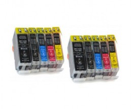 10 Compatible Ink Cartridges, Canon BCI-3 / BCI-6 / BCI-5 Black 26.8ml + Colores 13.4ml
