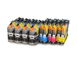 10 Compatible Ink Cartridges, Brother LC-121 / LC-123 Black 20.6ml + Color 10ml
