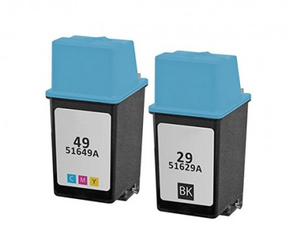 2 Compatible Ink Cartridges, HP 29 Black 39ml + HP 49 Color 21ml