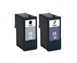 2 Compatible Ink Cartridges, Lexmark 23 XL Black 21ml + Lexmark 24 XL Color 15ml