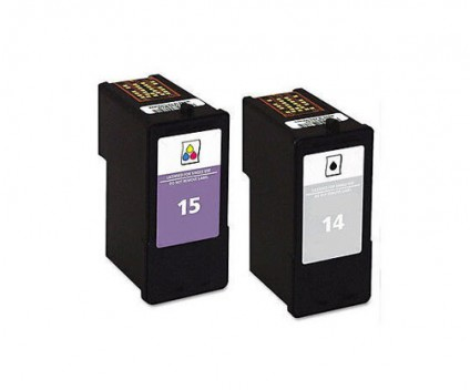 2 Compatible Ink Cartridges, Lexmark 14 Black 21ml + Lexmark 15 Color 15ml