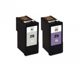 2 Compatible Ink Cartridges, Lexmark 28 XL Black 21ml + Lexmark 29 XL Color 15ml