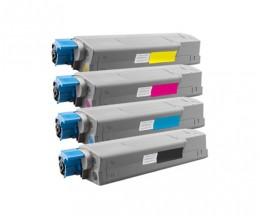 4 Compatible Toners, OKI 4431530X Black + Color ~ 8.000 / 6.000 Pages
