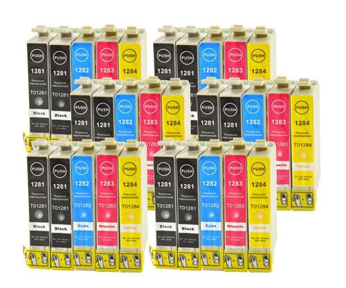 30 Compatible Ink Cartridges, Epson T1281-T1284 Black 13ml + Color 6.6ml