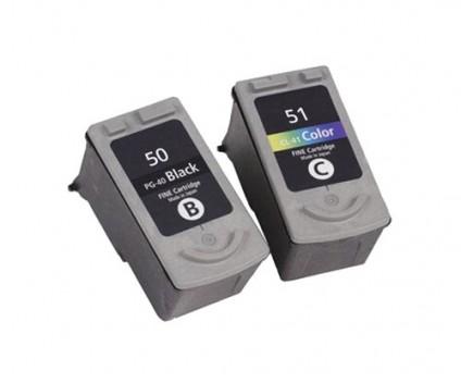 2 Compatible Ink Cartridges, Canon PG-37 / PG-40 / PG-50 Black 22ml + CL-38 / CL-41 / CL-51 Color 21ml