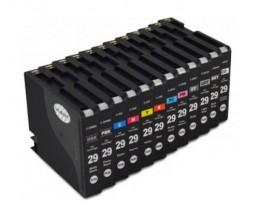 12 Compatible Ink Cartridges, Canon PGI-29 Black 36ml + Color 36ml