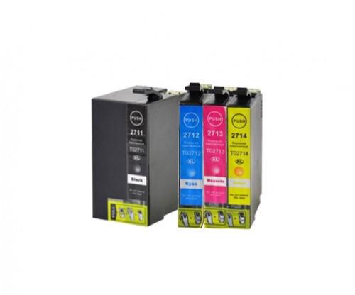 4 Compatible Ink Cartridges, Epson T2701-T2704 / T2711-T2714 / 27 XL Black 22.4ml + Color 15ml