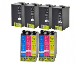 10 Compatible Ink Cartridges, Epson T2701-T2704 / T2711-T2714 / 27 XL Black 22.4ml + Color 15ml