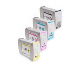 4 Compatible Ink Cartridges, HP 80 Black + Color 400ml