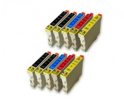 10 Compatible Ink Cartridges, Epson T0611-T0614 Black 17ml + Color 15ml