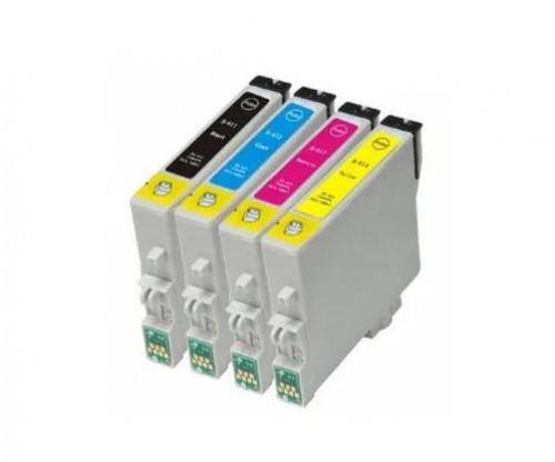 4 Compatible Ink Cartridges, Epson T0611-T0614 Black 17ml + Color 15ml