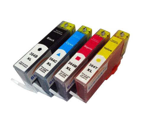 4 Compatible Ink Cartridges, HP 364 XL Black 18.6ml + Color 14.6ml