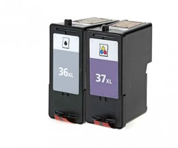 2 Compatible Ink Cartridges, Lexmark 37 XL Color 15ml + Lexmark 36 XL Black 21ml