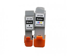 2 Compatible Ink Cartridges, Canon BCI-21 / BCI-24 Black 9.2ml + Color 12.6ml