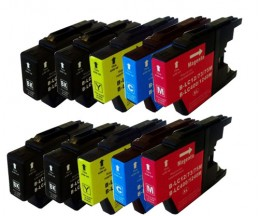 10 Compatible Ink Cartridges, Brother LC-1220 / LC-1240 / LC-1280 Black 32.6ml + Color 16.6ml
