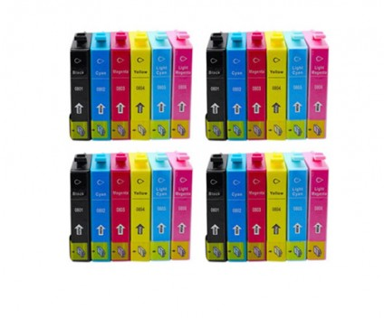 24 Compatible Ink Cartridges, Epson T0801-T0806 Black 13ml + Color 13ml
